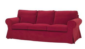 Sofa de tres plazas EKTORP con funda LEABY rojo