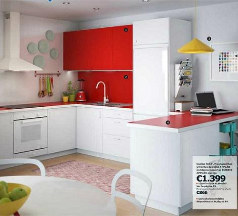cocina blanca y roja ikea applad 2014
