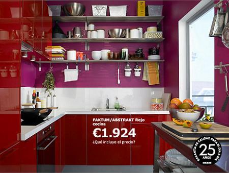 Cocina en color rojo de ikea por solo euros - Cocinas por 2000 euros ...