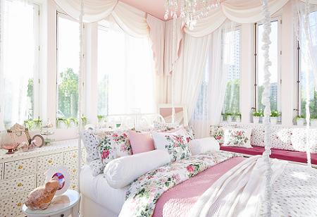 Habitaci n rom ntica de ikea for Cortinas vintage dormitorio