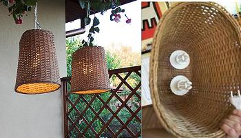 Papelerras reconvertidas en lámparas