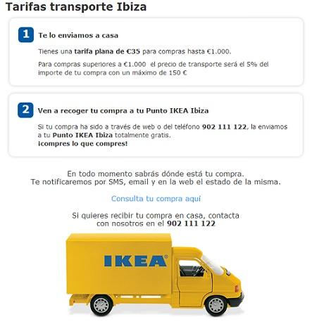 ikea ibiza tarifas transporte