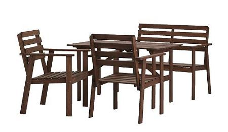Conjunto de mesa sillas y banco super barato de 4 comensales para la terraza por s lo 119 - Mesa de jardin ikea la rochelle ...